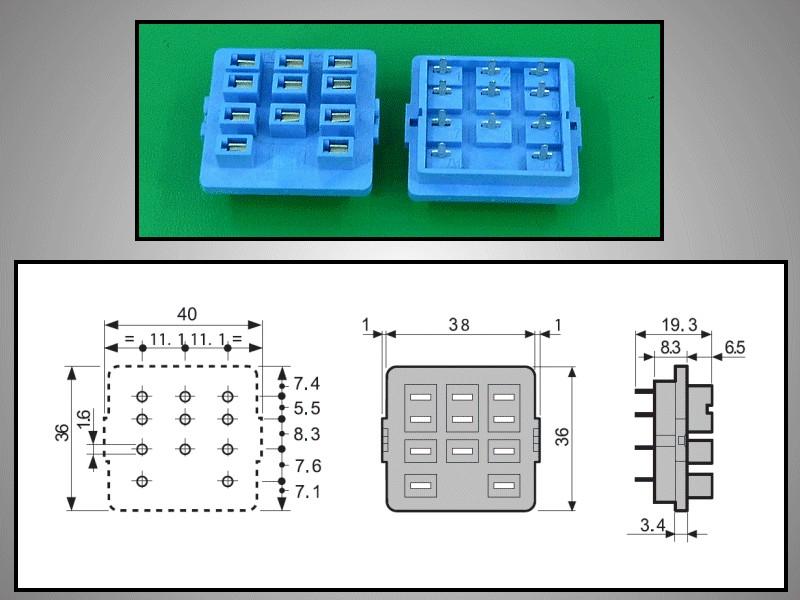 RELÉ foglalat panelbe 11p. Sarus 92.13 (kék) RELAY-F/9213 -
