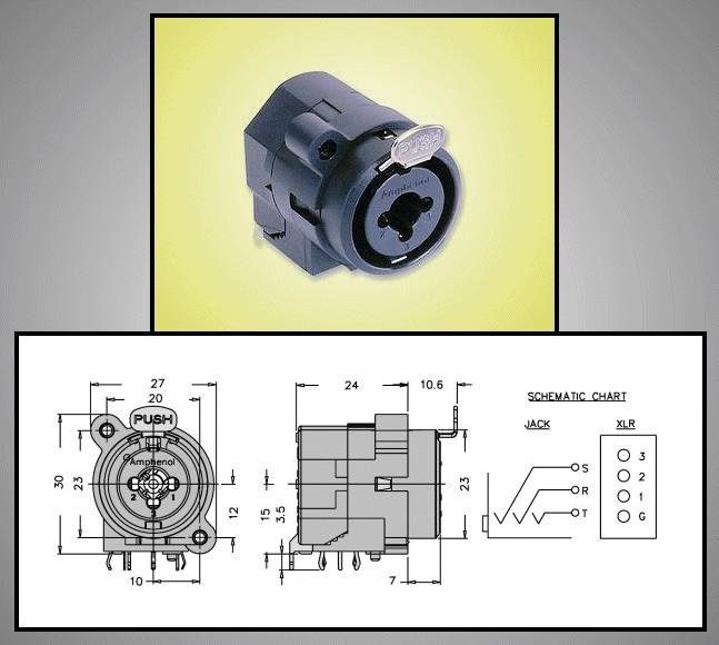 XLR + Jack6,35mm stereo aljzat (beépíthető) XLR-ACJC6H -