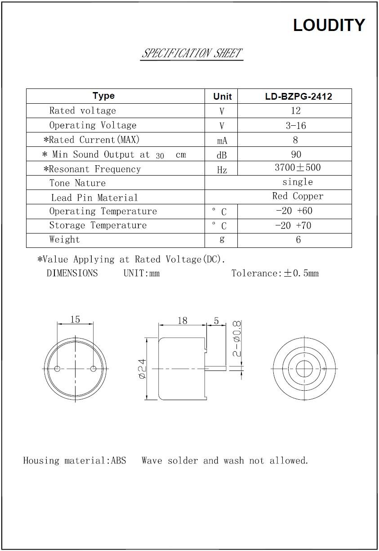 PIEZO BUZZER PCB BZPG-2412 BZ-07/1