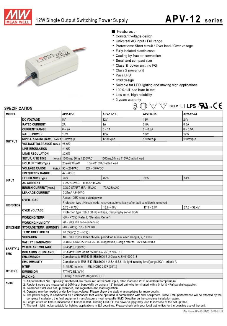 LED tápegység feszültséggenerátoros 12W/12V P.SUP.APV1212