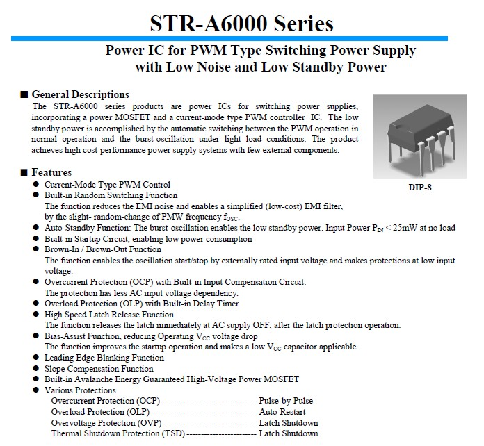 PWM Controller Low Noise and Low Standby Power 7p. DIP STRA6069H