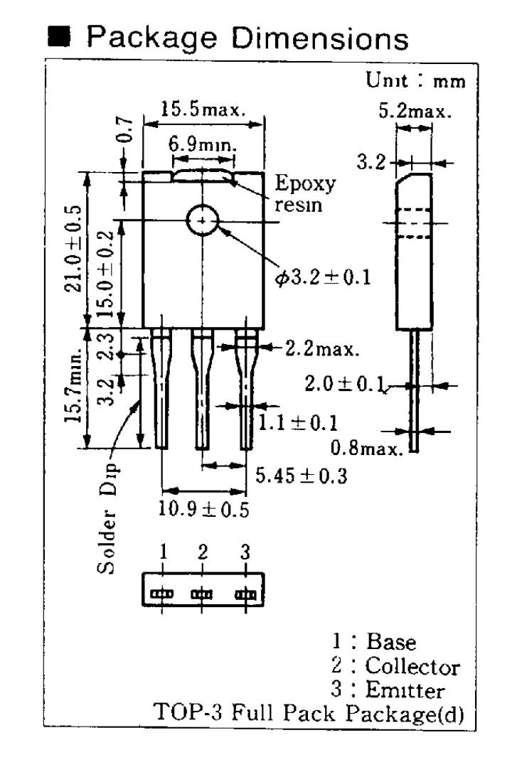 Tranzisztor NPN 1500/700V 5A 100W TV-HA 2SD1577 2SD1577