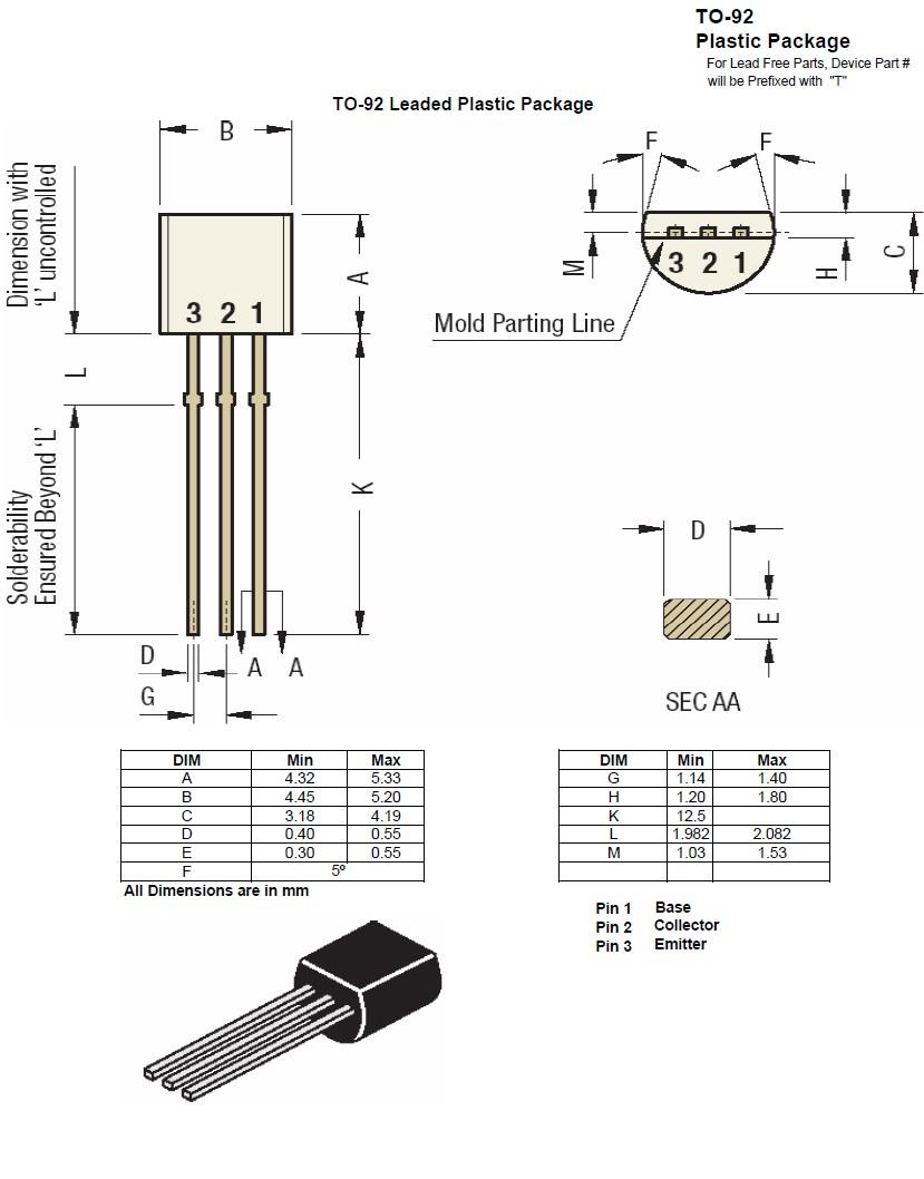 Tranzisztor PNP 45V 1A 0.8W 70MHz TO-92 BC636 BC636 -