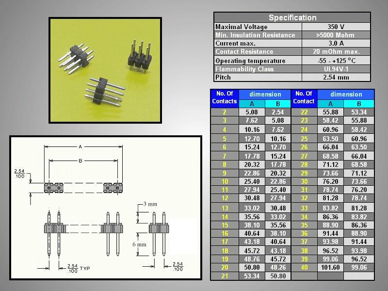 Kétsoros tüskesor 2.54 2x3p.3/ 6mm 0.64 STSF M03P2 3/06