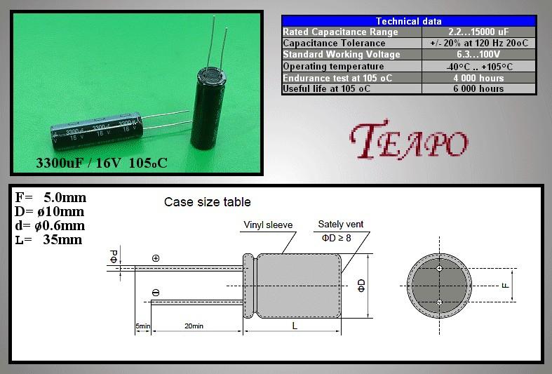 ELKO 3300uF 16V 105°C 10x35 Low-ESR SY 3300/16P-105ESR T -