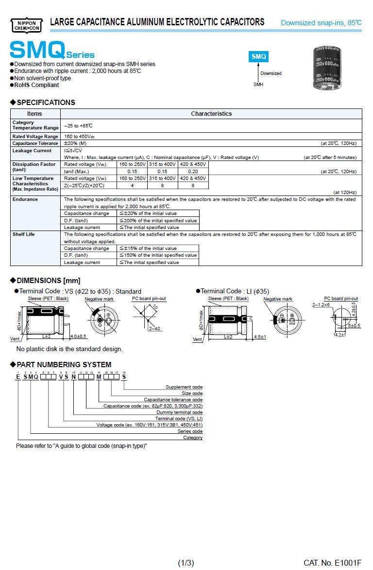 ELKO 560uF 450V 85°C 30x50 Snap-In 560/450P 30X50