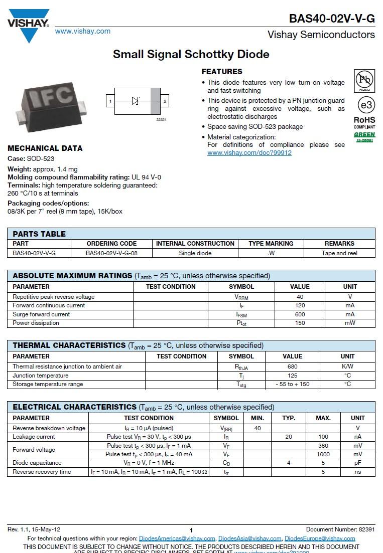 SB-D SMD SCHOTTKY 40V 0.2A 0.3W 4pF BAS40-02