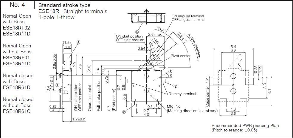 Detektor 1.5mm, mikrokapcsoló 4.1x4mm, 4p. SMD (nyova bekapcssol) SW10-ESE18R11D