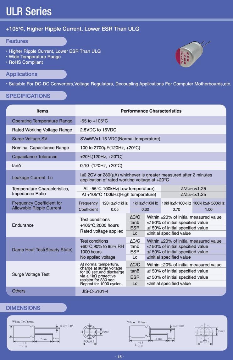 ELKO 560uF 6.3V 105°C 8x8 álló 560/6.3P 105ES