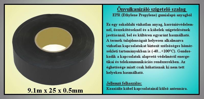 2515 Önvulkanizáló HV szigetelőszalag 0.5x25mm 9.1m fekete V-00295/E502510 -