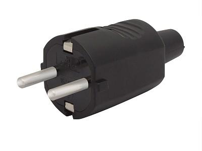 AC 250V 16A földelt dugó, 2P+F fekete gumírozott (DF162) CSAT-P024/B