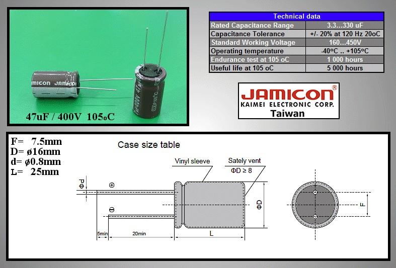 ELKO 47uF 400V 105°C 16x25 álló Low-ESR 47/400P-105ESR -