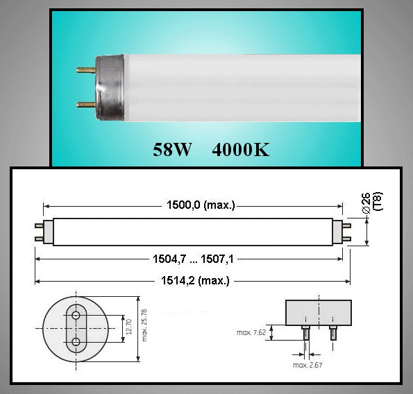 26x150 Fénycső 58W/840 LAMP 006150/58C -