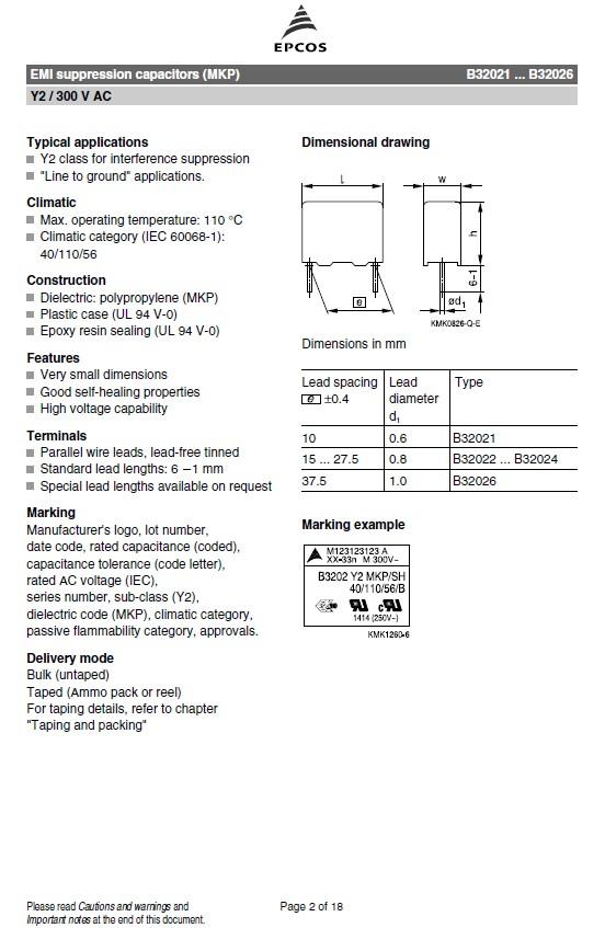 Y2 kondenzátor 47nF 300VAC ±20% RM-15 C 47N AC300 Y2