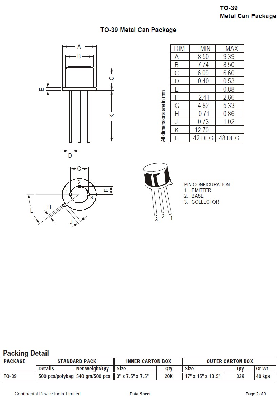 Tranzisztor NPN 300/250V 1A 5W 15MHz VID 2N3440-CDIL 2N3440-CDIL -
