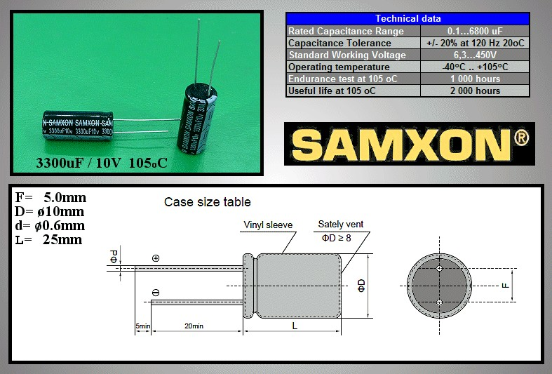 ELKO 3300uF 10V 105°C 10x25 álló 3300/10P-105 S -