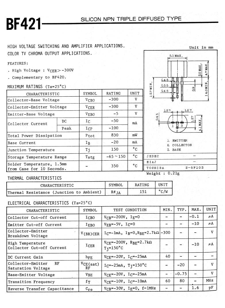 Tranzisztor PNP 300V 0.05A 0.83W 60-80MHz VID. BF421 BF421 -