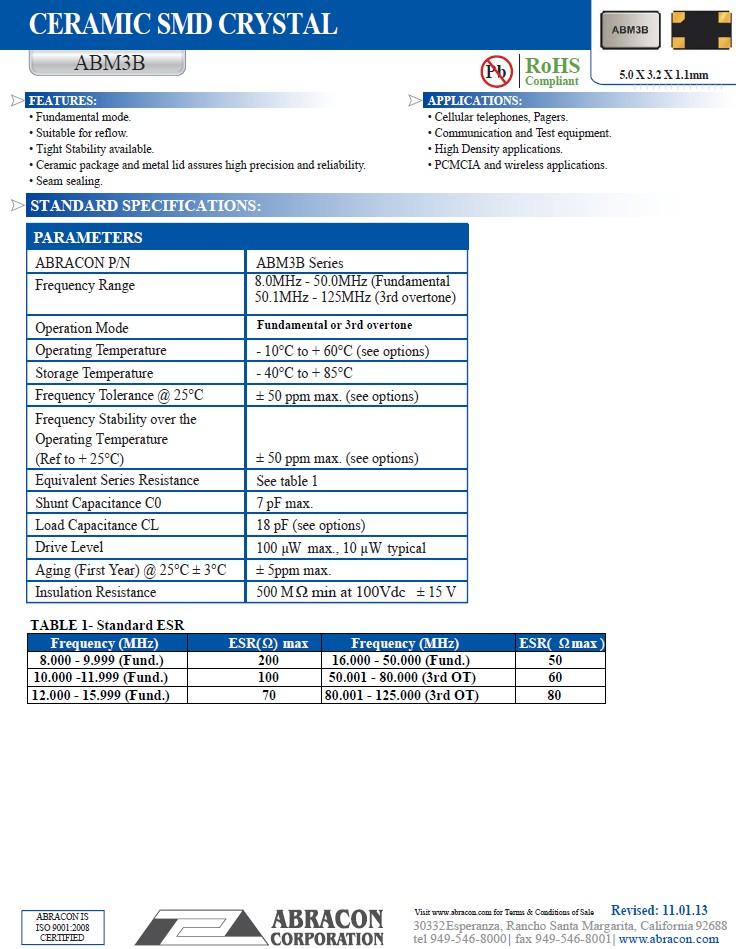 Kerámia Kristály 12.000.000MHz SMD 4p. 5x3.2x1.1 12.0 MHz SMD -