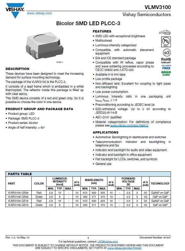 LED SMD kétszínű, piros/zöld PLCC-3 VLMV3100-GS08