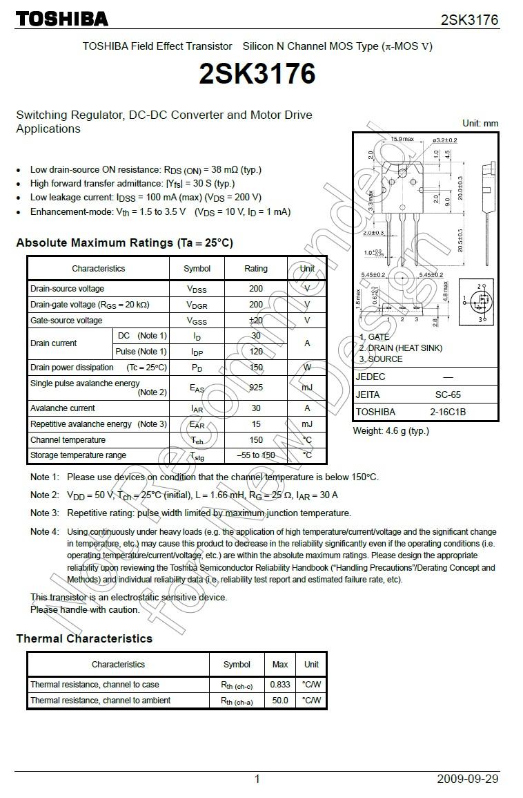Tranzisztor N-MOSFET+Z 200V 30A/120Ap. 150W 0.038R 2SK3176 2SK3176 -