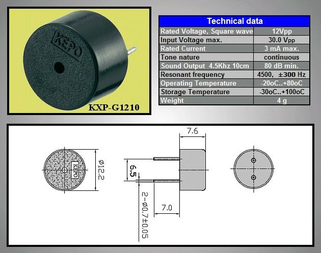 Piezo Transducer PCB KPT-1210 BZ-113