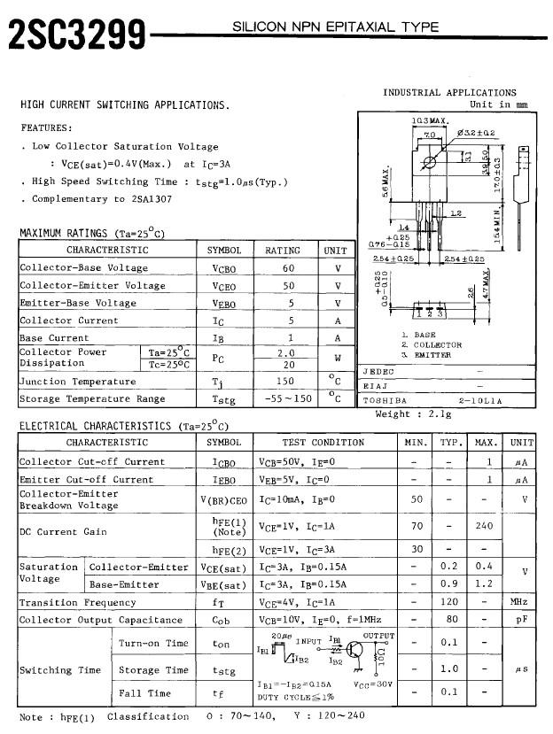 SI-N 60V/50V 5A 20W 120MHz 2SC3299 -