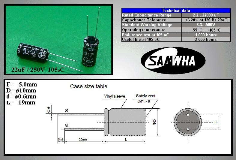 ELKO 22uF 250V 105°C 10x20 álló Samwha 22/250P-105 S -