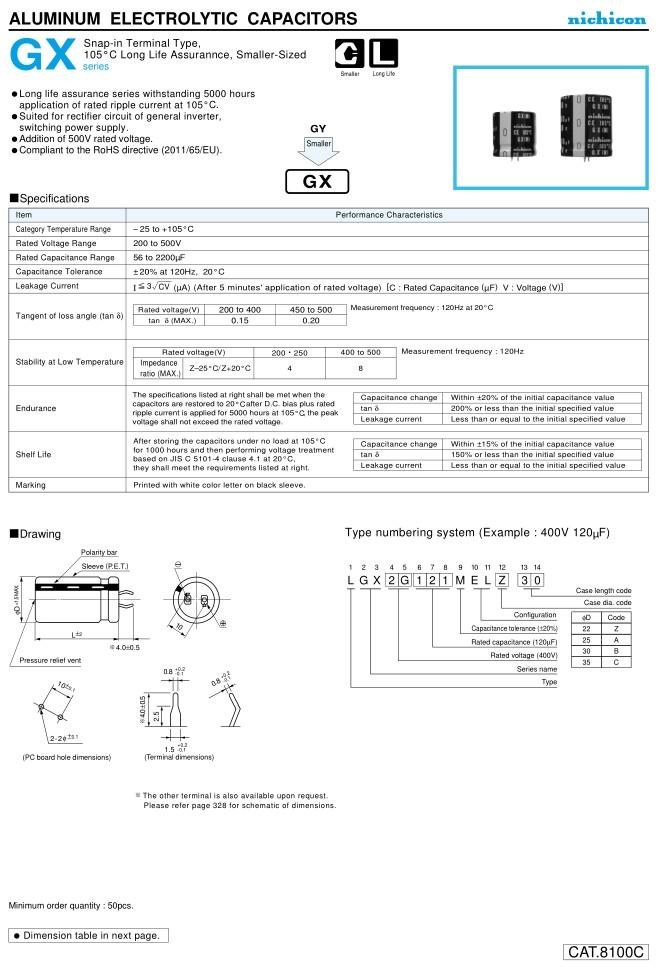 ELKO 150uF 450V 105°C 22x40 2p. Snap-In 150/450P-105 22X40N -