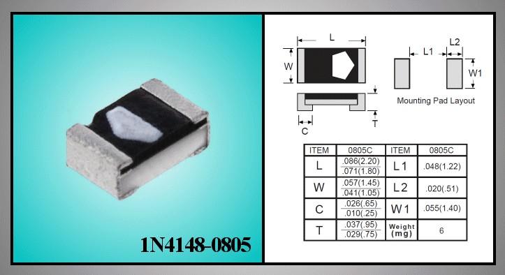 SI-D SMD 100V 0.15A Ifrm 0.5A 4ns Cd:4pF 1N4148-0805 -