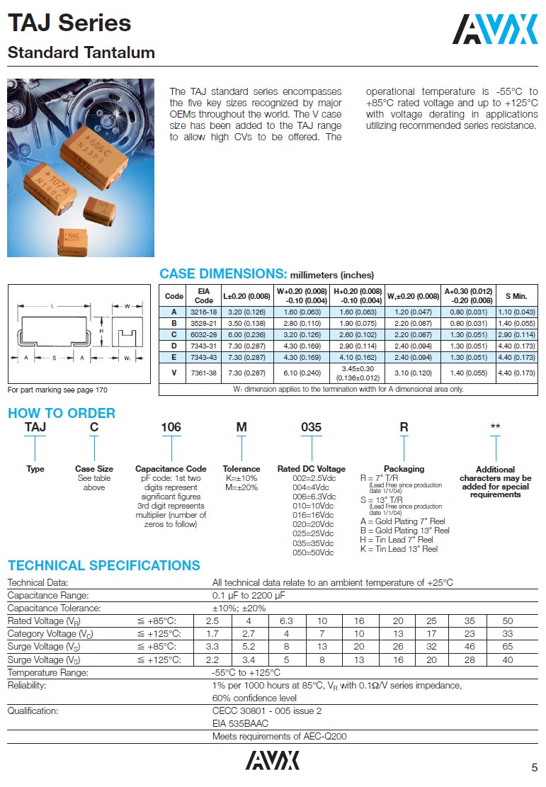 CHIP TANTAL CAP.100uF 6.3V 10% SMDC 100UF/6.3V