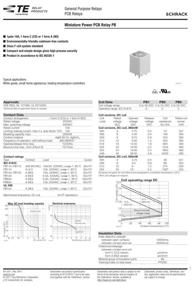 RELAY 1x250V 10A 12VDC 8-1415029-1 RELAY-PB114012