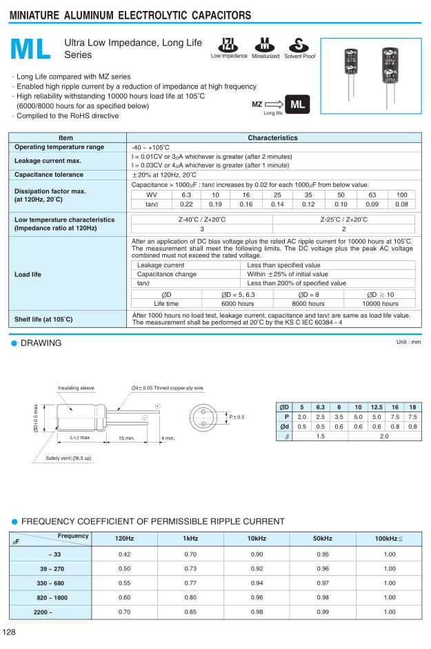 ELKO 3300uF 10V 105°C 12,5x25 Low-ESR 3300/10P-105ESR S