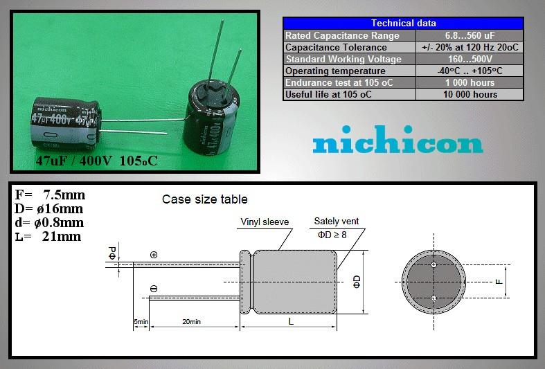 ELKO 47uF 400V 105°C 16x20 álló (Long-Life) 47/400P-105CY -