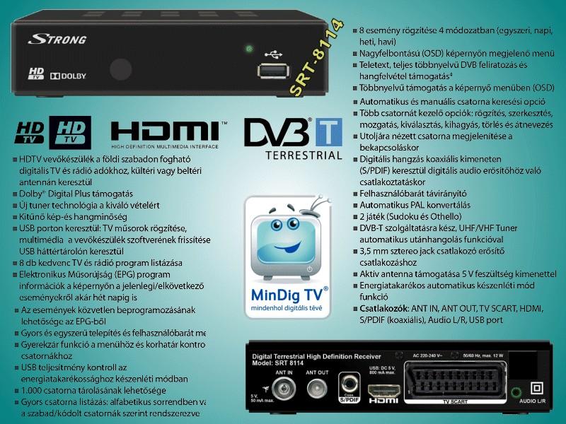 FTA beltéri egység DVB-T vételre, kijelzővel, PVR felvételi lehetőséggel //DVB-T/SRT8114 -
