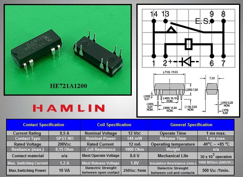 REED 12VDC SPST-NO 1x250VAC/0,5A DIP relé 8p. RELAY-HE721A1200 -