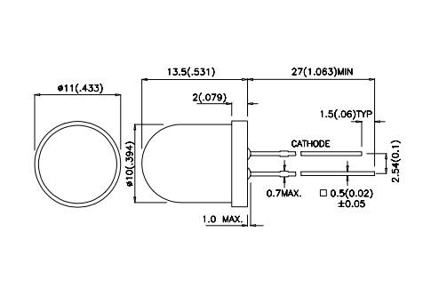 LED10mm narancs, diffúz 36...100mcd LED10 O 0100