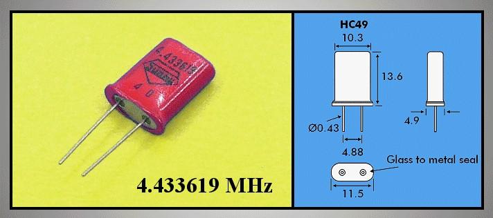 QUARTZ 4.433.619 MHz HC49/U 4.433.619 MHZ -