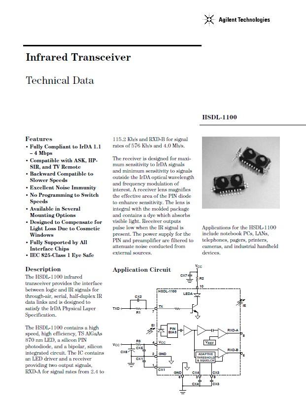 4Mbit/S IRDA infravörös adó-vevő modul HSDL1100