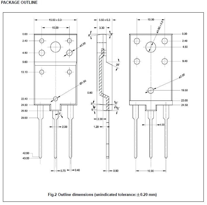 Tranzisztor NPN+D 1700/700V 10A 50W 0.5uS 2SC5143 2SC5143 -