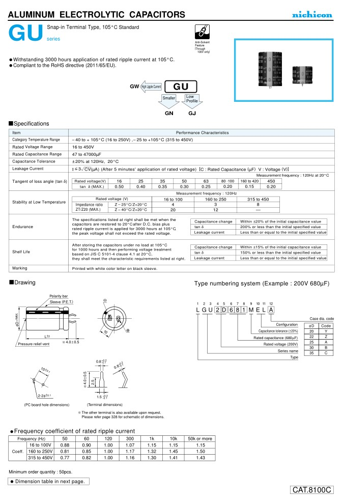 ELKO 270uF 450V 105°C 35x35 2p. Snap-in 270/450P-105-GU -