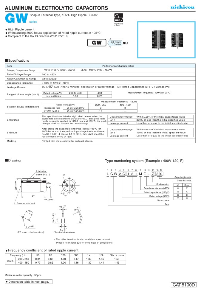 ELKO 270uF 450V 105°C 30x40 2p. Snap-in 270/450P-105-GW