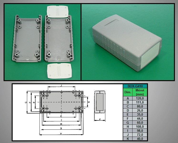 Project Box 120x60x40mm IP54 BOX G410 -