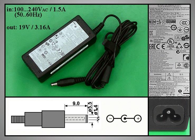 Töltő / adapter AD-6019R 19VDC, 3.16A NOT-BA4400242A