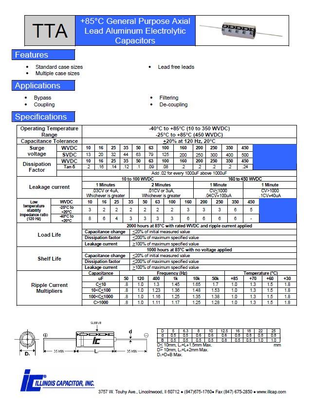 ELKO 100uF 160V 85°C fekvő 100/160A
