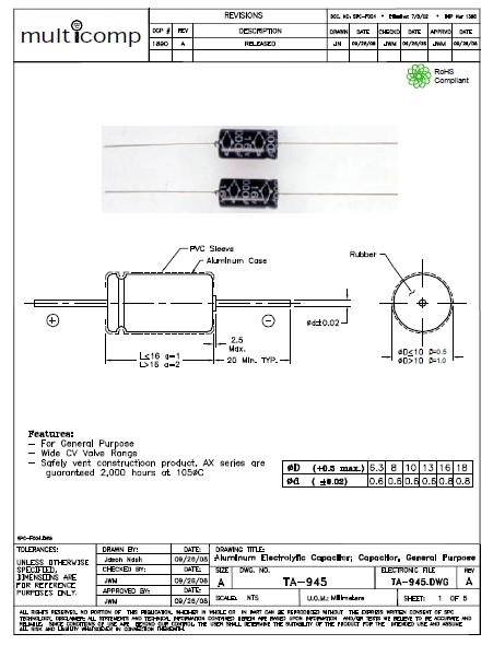 ELKO 2200uF 63V 85°C fekvő 2200/63A