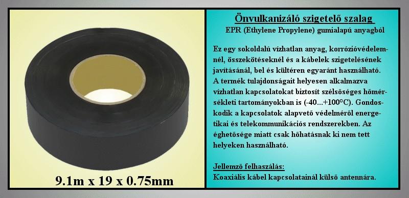 2547 Önvulkanizáló HT szigetelőszalag 0.75x19mm 9.1 fekete V-00295/E751910 -