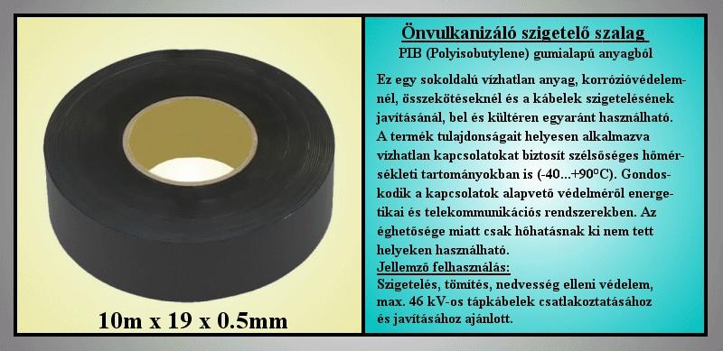 2501 Önvulkanizáló szigetelőszalag 0.5x19mm 10m fekete V-00295/P501910 -