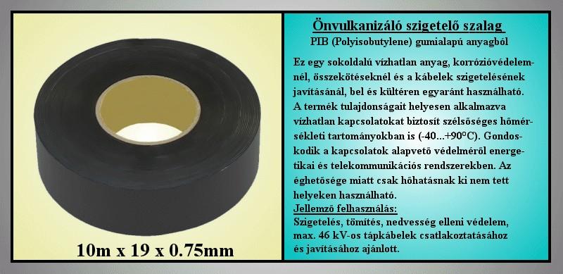 2504 Önvulkanizáló szigetelő szalag 0.75x19mm 3m fekete V-00295/P751903 -
