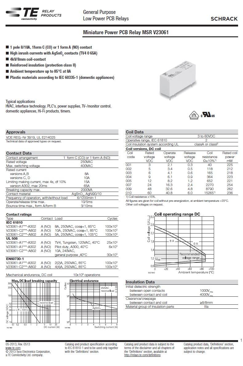 RELAY 1x250VAC 8A 12VDC 2-1393222-0 RELAY-V23061A1005A302