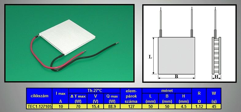 PELTIER hőelem 50x50x4.5mm 88.9W PL-50X50-4.5